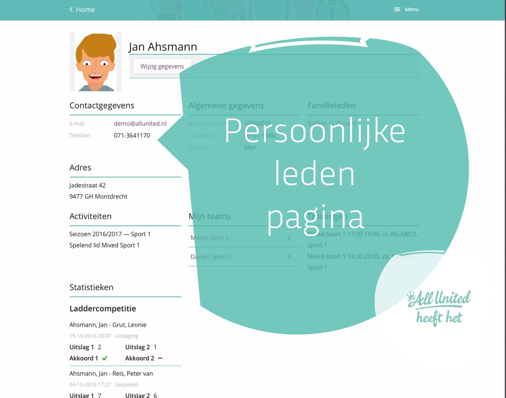 Eigen persoonlijke lidpagina